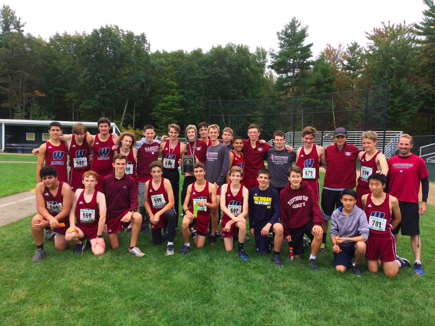 Westborough cross country team after winning the Varsity B Race at the 61st annual Wachusett Invitational Meet on October 6th at Wachusett Regional High School in Holden, MA.