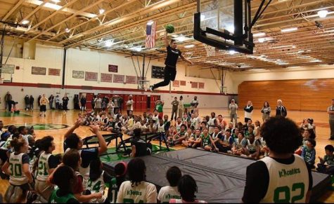 Boston Celtics Dunk Team member and WHS alum Betsy Orfao performs one of her dunks for a bunch of students.