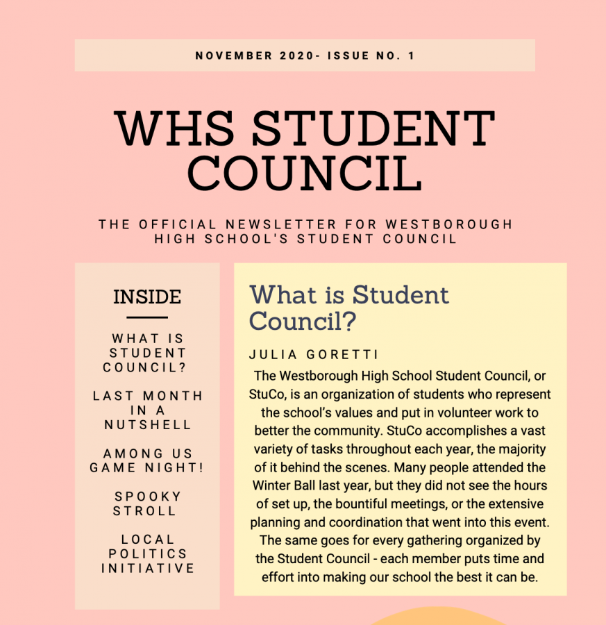 WHS Student Council's First Newsletter: What They've Been Up To
