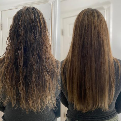 The before and after pictures of using the Revlon Dryer and Volumizer.