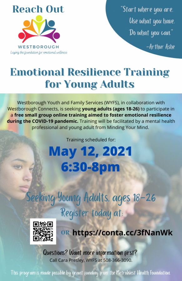 May 12:  Emotional Resilience Training for Young Adults in Westborough