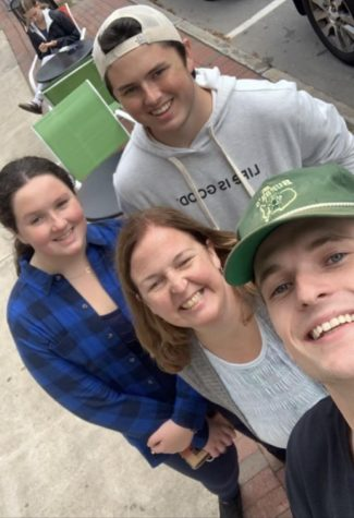 Mrs. Stoker, her son Seamus and her daughter meet up with WHS Alum Matt McCarthy at UNH. Mrs. Stokers son was touring UNH.