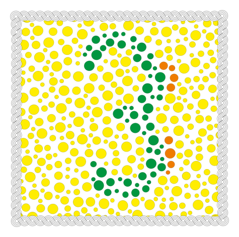What colors and number do you see in this color blindness test?